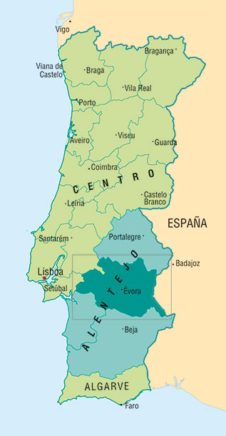 Mapa do Alentejo, Portugal.